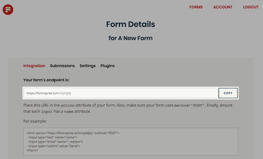 After form creation, copy the endpoint URL.