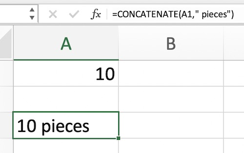CONCATENATE to add 'pieces' suffix to a number.